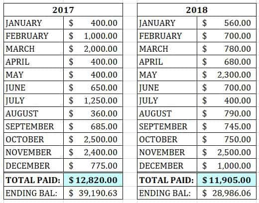 2017 and 2018 total student loan payments