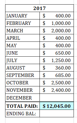 2017 total payments Nov