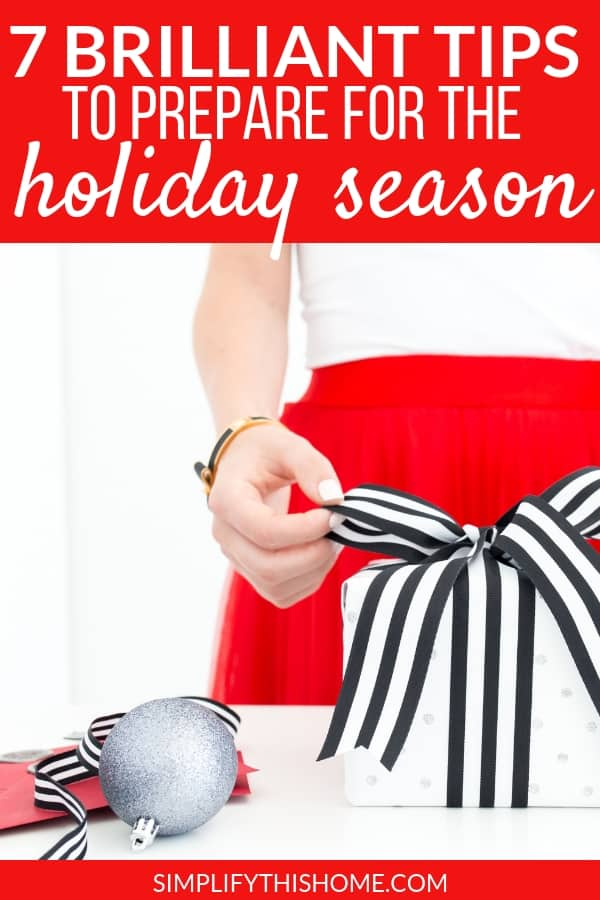 These tips will help you prepare for the holiday season like a pro! Ditch the stress and overwhelm this year with a little holiday planning. And don't forget to download my free holiday planner to help you prepare for the holidays!