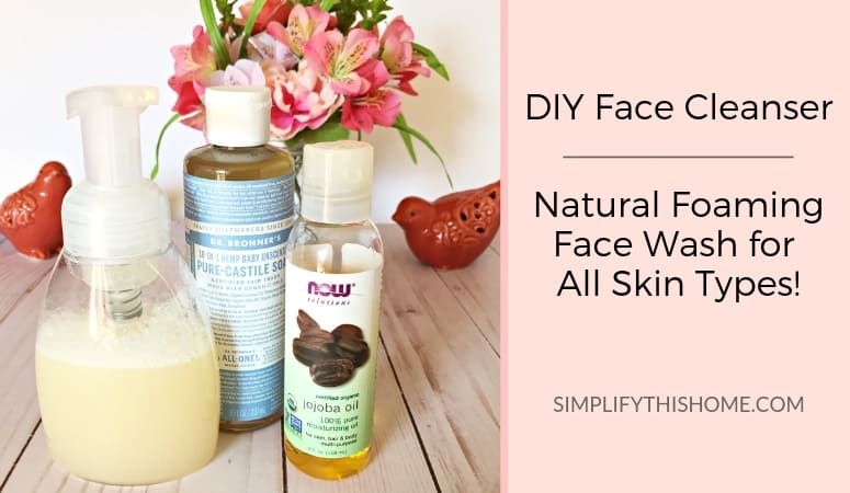 Kick your old face cleanser to the curb and make your own DIY face cleanser instead! This natural foaming face wash is perfect for all skin types — even the most sensitive skin! With just a few simple ingredients, this recipe is easy to make and even easier on your wallet.