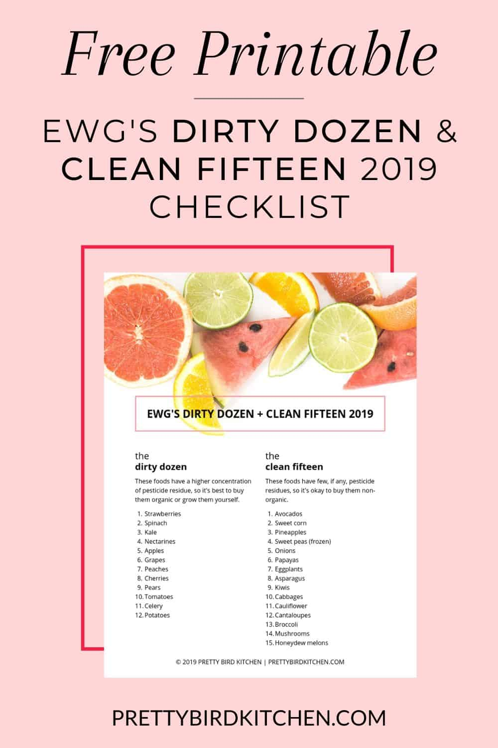 Free Printable Dirty Dozen and Clean Fifteen 2019