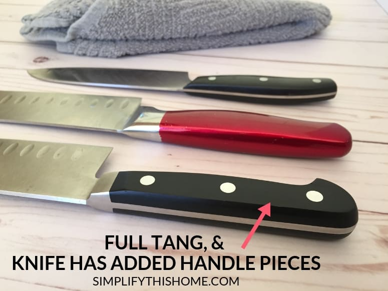 How to choose the best kitchen knife; knife has full tang and extra handle pieces attached