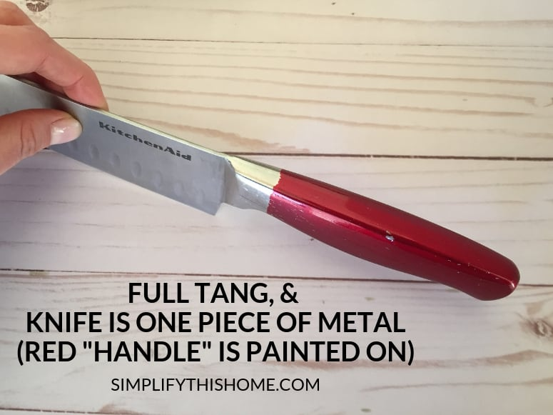 How to choose the best kitchen knife; knife has full tang and is one piece of metal