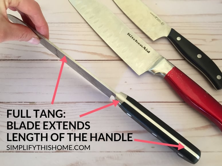 How to choose the best kitchen knife; look for a full tang