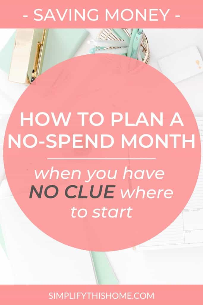 How to plan a no-spend month