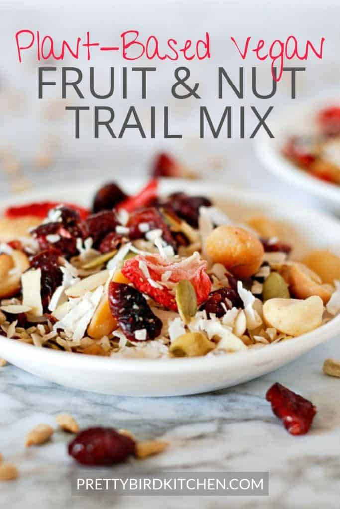 Plant-based vegan fruit and nut trail mix